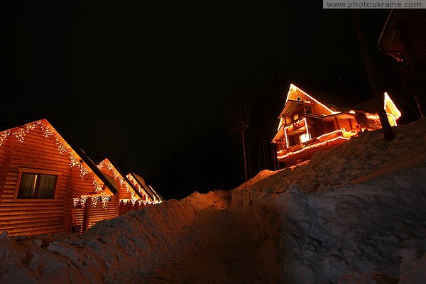 Bukovel. Cottage town late at night Ivano-Frankivsk Region Ukraine photos