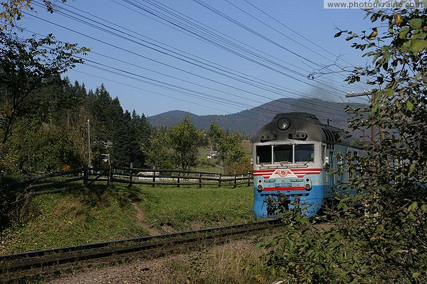 Vorokhta. Carpathian diesel train Ivano-Frankivsk Region Ukraine photos