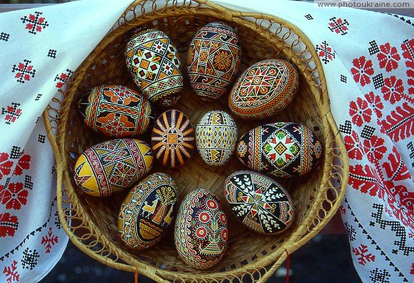 Kolomyia. Museum of Easter Eggs - basket with eggs Ivano-Frankivsk Region Ukraine photos