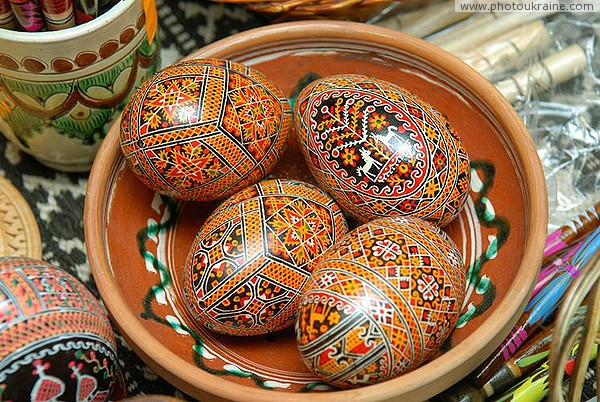 Kolomyia. The Museum of Easter Eggs - a clay plate with painted eggs Ivano-Frankivsk Region Ukraine photos