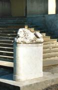 Nemyriv. Marble sleeping lion at entrance to palace, Vinnytsia Region, Country Estates