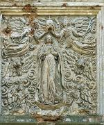 Olyka. Bas-relief at top of front facade Trinity church, Volyn Region, Churches