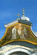 Olyka. Fragment of painted front facade of Sretenskaya church, Volyn Region, Churches