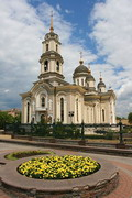 Donetsk. Holy Transfiguration Cathedral and flower, Donetsk Region, Churches
