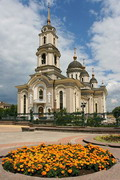 Donetsk. Holy Transfiguration Cathedral and flowers, Donetsk Region, Churches