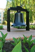 Donetsk. Tenfold smaller version of Bochum bell in garden in front of municipal administration, Donetsk Region, Monuments
