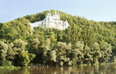 Sviatogirska lavra. View of chalk cliff with urban beach, Donetsk Region, Monasteries