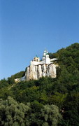 Sviatogirska lavra. View Nicholas church and St. Andrew's chapel berth boat station, Donetsk Region, Monasteries
