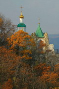 Sviatogirska lavra. Golden Autumn temple rock, Donetsk Region, Monasteries