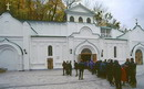Sviatogirska lavra. Excursion turn at bottom of pavilion entrance to cave, Donetsk Region, Peoples
