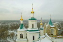 Sviatogirska lavra. Nicholas church and St. Andrew's chapel in winter, Donetsk Region, Monasteries
