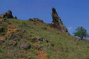 Starolaspa. Pinnacle above river, Donetsk Region, Geological sightseeing