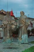 Mukacheve. Cyril & Methodius monument in evening, Zakarpattia Region, Monuments