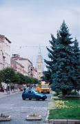 Mukacheve. Rare car at Peace Square, Zakarpattia Region, Cities