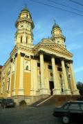 Uzhgorod. Main facade of Holy Cross Cathedral, Zakarpattia Region, Churches