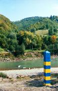 Khmeliv. Border post on right bank of river Tisa, Zakarpattia Region, Rivers