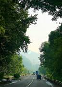E50 road in suburbs Svaliava, Zakarpattia Region, Roads