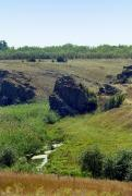 Mykolaivka. High stone cliff above river Berda, Zaporizhzhia Region, Geological sightseeing