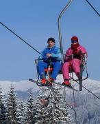 Bukovel. Skiers on a 2-chair lift, Ivano-Frankivsk Region, Peoples