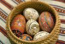 Kolomyia. Pysanka Museum - wicker basket with painted eggs, Ivano-Frankivsk Region, Museums